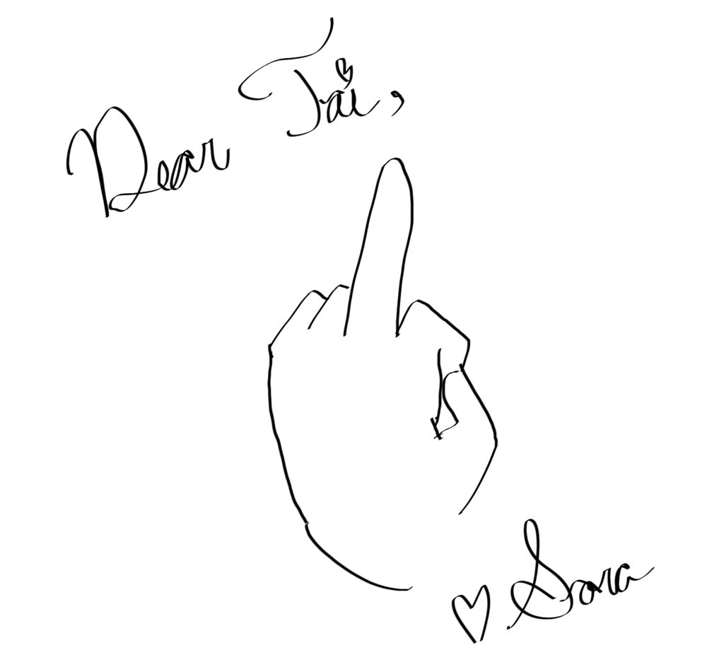 "Sora's note to Tai is just, ""Dear Tai,"" a drawing of a hand with a raised middle finger, ""Love, Sora"""