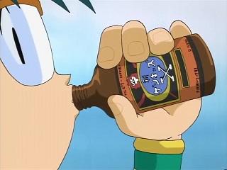 "Jou is enjoying an energy drink known as ""Genkizu X"""